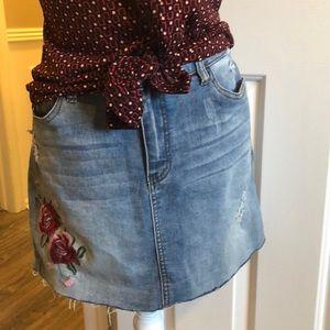 denim skirt Distressed embroidered mini angel kiss